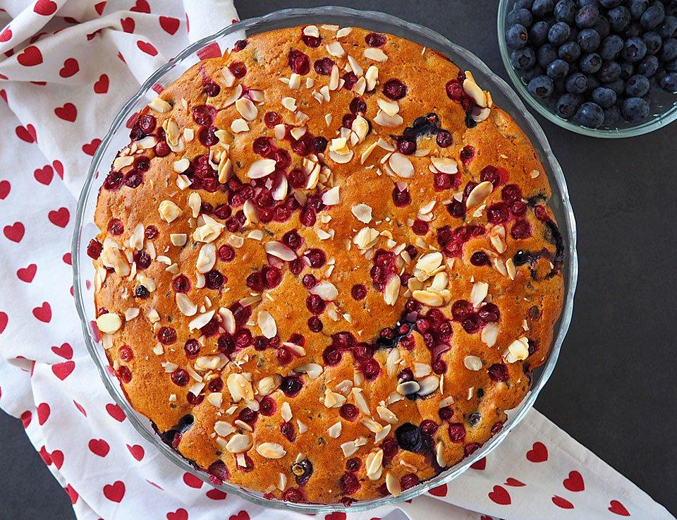 Prăjitura cu afine și merișoare